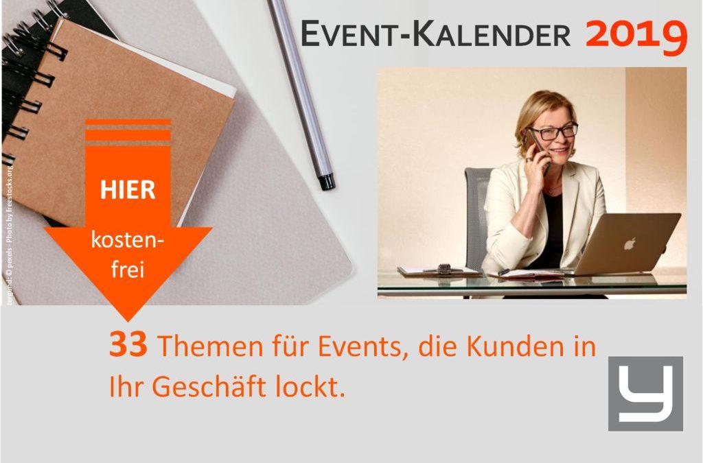 Mein Event-Kalender  2019 –  3 gute Gründe…